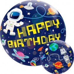 Space Party Happy Birthday Bubble Balloon