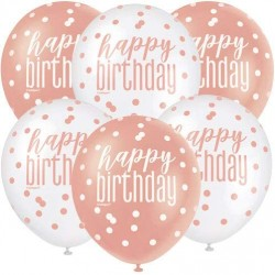 Rose Gold and White Happy Birthday Balloons
