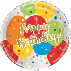 "Happy Birthday Balloon Glitzy Gold 18"""