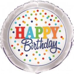 "Happy Birthday Balloon Rainbow Polka Dot 18"""