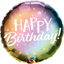 """Happy Birthday Ombre and Dots Foil Balloon 18"""""""