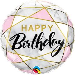 "Birthday Marble Rectangles 18"" Foil Balloon"