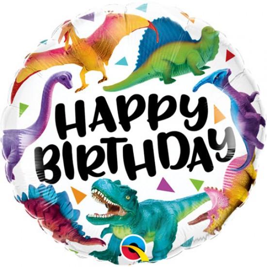 "Birthday Colourful Dinosaurs Foil Balloon 18"""