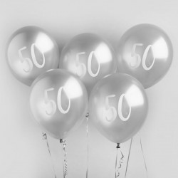 Silver Number 50 Balloons