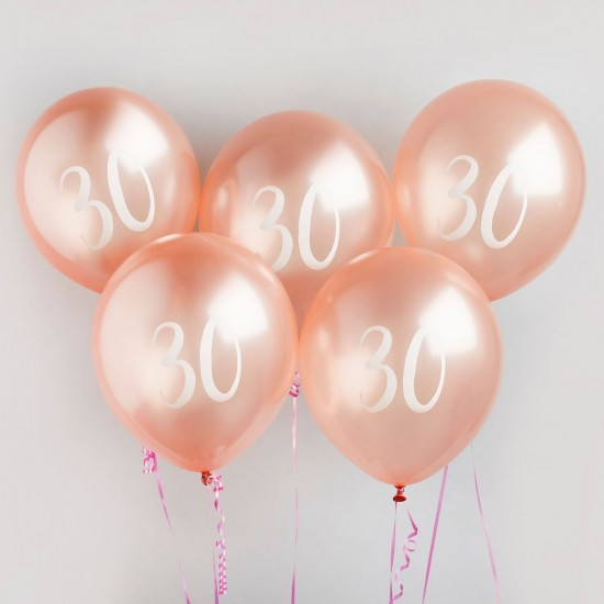 Rose Gold Number 30 Balloons