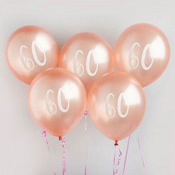 Rose Gold Number 60 Balloons