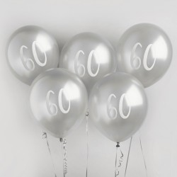 Silver Number 60 Balloons