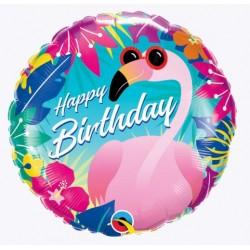 Birthday Tropical Flamingo Foil Balloon