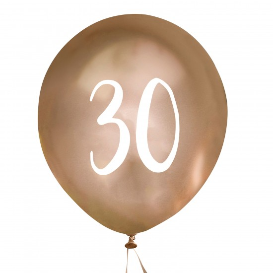 Gold Number 30 Balloons