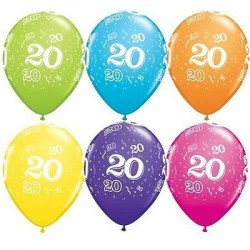 20th Birthday Multicoloured Latex Balloons 11 inch
