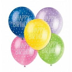 Pearlised Latex Assorted Happy Birthday Balloons
