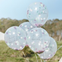 Boho Floral Confetti Hen Party Balloons, 5 in a pack.