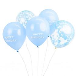 5 Blue Happy Birthday Confetti Balloons