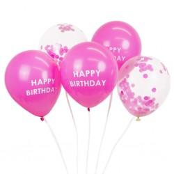 5 Pink Happy Birthday Confetti Balloons