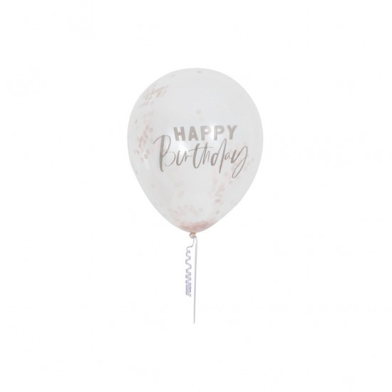5 Rose Gold Happy Birthday Confetti Balloons