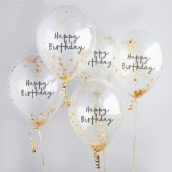 Gold Happy Birthday Confetti Balloons