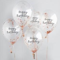 Rose Gold Happy Birthday Confetti Balloons