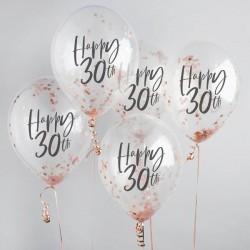 5 Rose Gold 30th Birthday Confetti Balloons