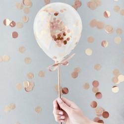 Rose Gold Mini Confetti Balloon Wands
