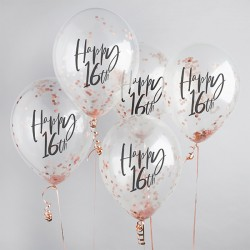 5 Rose Gold 16th Birthday Confetti Balloons