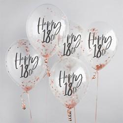 5 Rose Gold 18th Birthday Confetti Balloons