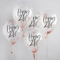 5 Rose Gold 21st Birthday Confetti Balloons
