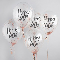 5 Rose Gold 40th Birthday Confetti Balloons