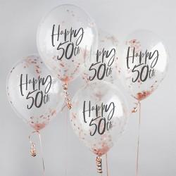 5 Rose Gold 50th Birthday Confetti Balloons