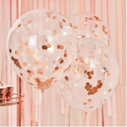 Giant Rose Gold And Blush Large Confetti Balloons, Pack of 3