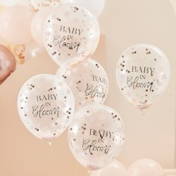 Baby in Bloom Flower Confetti Balloon, 5 in a pack.
