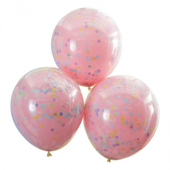 3 Double Layered Pink And Pastel Rainbow Confetti Balloons