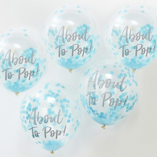 About To Pop! Blue Confetti Balloons