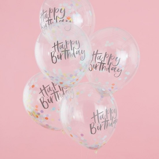 Birthday Pastel Confetti Balloons