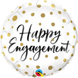 Happy Engagement Gold Dots Foil Balloon