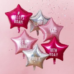 6 Personalisable Star Party Balloons With Stickers