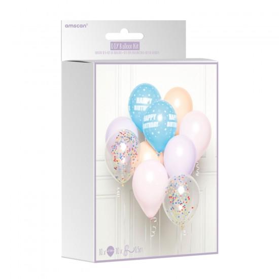 10 Pastel Happy Birthday Latex and Confetti Balloon Kits