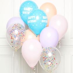 10 Pastel Happy Birthday Latex and Confetti Balloon Kit