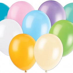 10 Latex Assorted Pastel Colour Balloons
