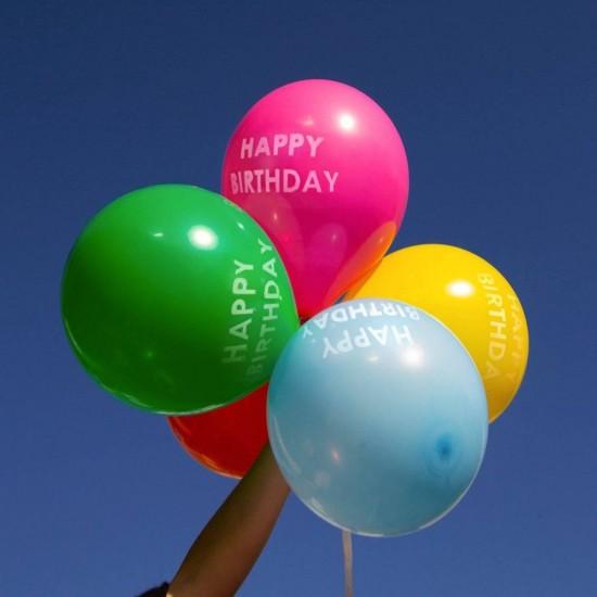 5 Rainbow Happy Birthday Balloons