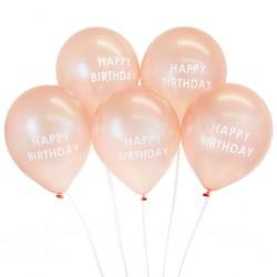 5 Rose Gold Happy Birthday Balloons