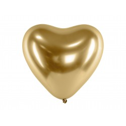 10 Gold Glossy Heart Party Balloons