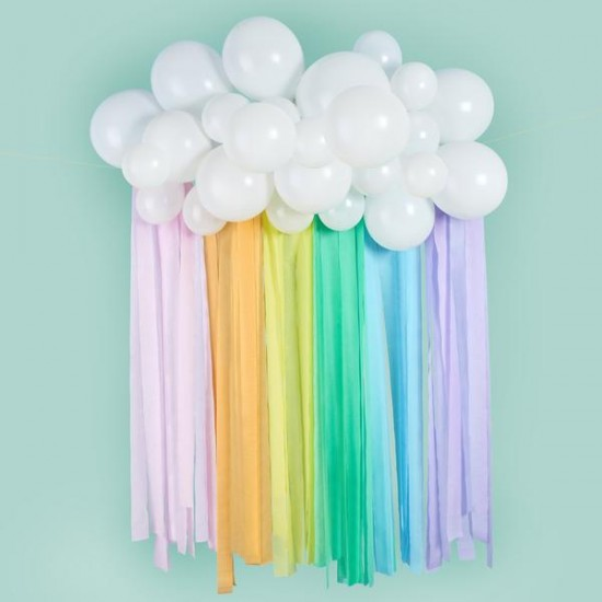 Cloud Backdrop with Rainbow  Streamers