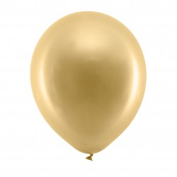 10 Metallic Gold Latex Balloons