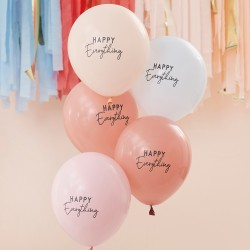 5 Muted Pastel Happy Everything Party Balloons