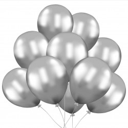 Silver Latex Balloons X 10