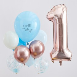 Blue And Rose Gold First Birthday Balloons