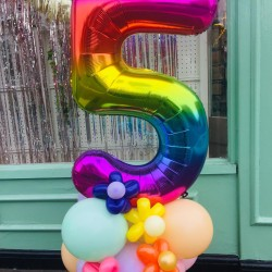 Number Balloon with flowers