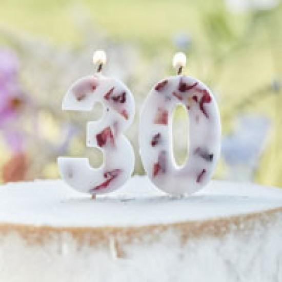 Pressed Petal Number 1 Birthday Cake Candle