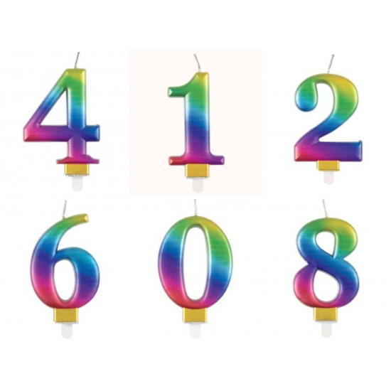 Rainbow Number Candle