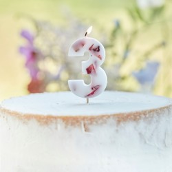 Pressed Petal Number 3 Birthday Cake Candle
